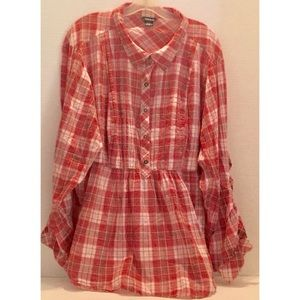 TORRID 100% COTTON Red PLAID Collared TUNIC SIZE 4